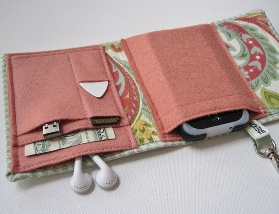 Nerd Herder gadget wallet in Celadon Chic for iPod, Android, iPhone, camera, earbuds, SD cards, USB, extra batteries, guitar picks,
