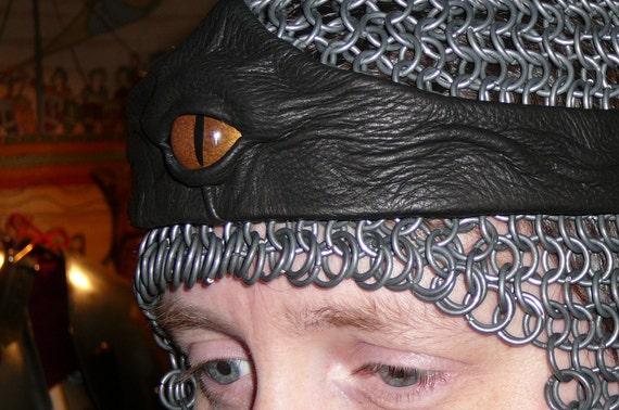 Dragon eye crown (Black leather with Gold eye)