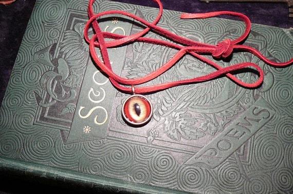 Dragon eye necklace (Red-Gold eye in copper bezel)