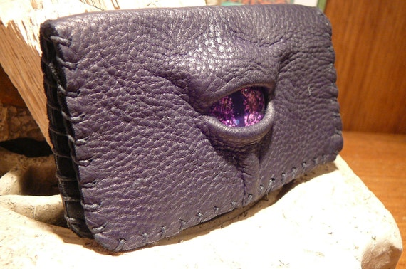 leather business card holder (purple dragon eye in black leather)