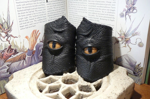Pair of Wrist Bracers (Black leather with Tan Dragon eyes)