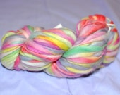 Handspun Yarn Destash - Fuzzy Fibers Bulky Weight hand dyed pink lavender sea foam green sage