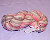Handspun Merino Wool 65 yards Bulky Yarn Destash - fuzzy fibers spun - pink grey gray white