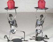 Zombie Skeleton Kneeling Candle Holders Set of 2