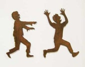 Zombie Chasing Victim Refrigerator Magnets (Set of Two) - FREE SHIPPING