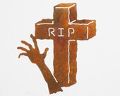 Zombie Reaching from the Grave Steel Refrigerator Magnet