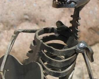 Zombie Skeleton Playing Guitar Metal Sculpture