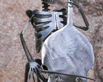 Zombie Skeleton Musician Upright Double Bass with Bow