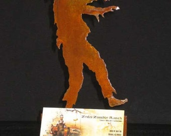 Zombie Walking Profile Silhouette Business Card Holder