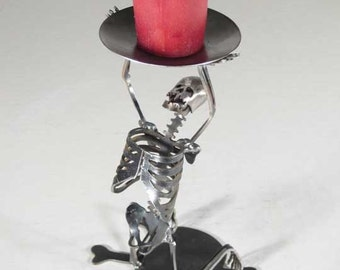 Zombie Skeleton Kneeling on Both Knees Candle Holder