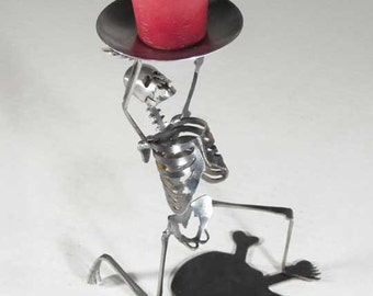 Zombie Skeleton Kneeling on  One Knee Candle Holder