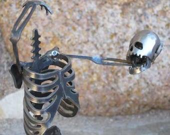 Headless Zombie Skeleton Steel Sculpture