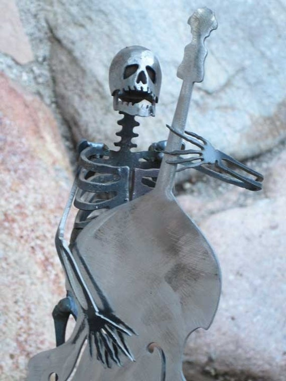 Zombie Skeleton Musician Playing Upright Double Bass