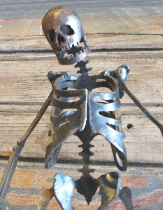 Zombie Skeleton Shambling Along Metal Sculpture