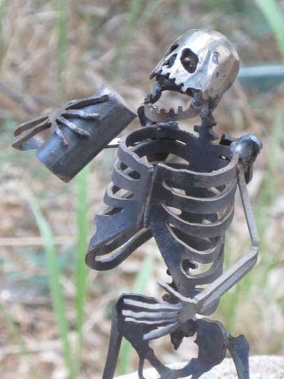 Zombie Skeleton Partying Metal Sculpture