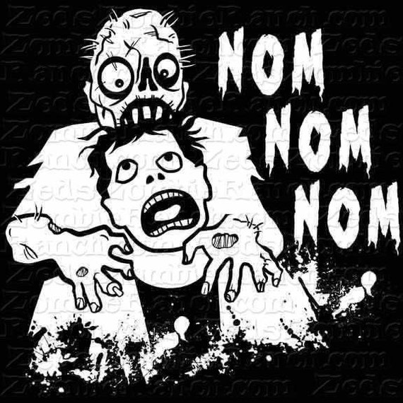 Zombie Shirt - Zombie Eating Brains Nom Nom Nom T-Shirt