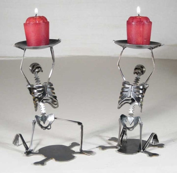 Zombie Skeleton Kneeling Candle Holders Set of 2