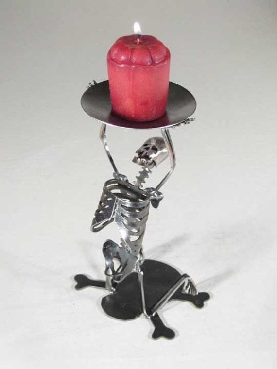 Zombie Skeleton Kneeling on Both Knees Candle Holder