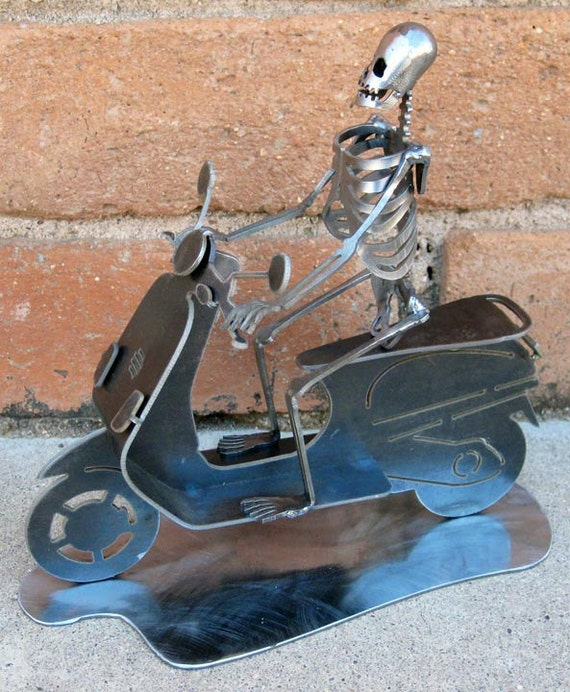 Vespa Riding Zombie Skeleton Steel Sculpture