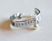 Custom Hand Stamped Childs Cuff Bangle Keepsake with Pearl