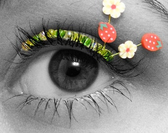 Strawberry Eyelash Jewelry - false eyelashes with strawberries and flowers