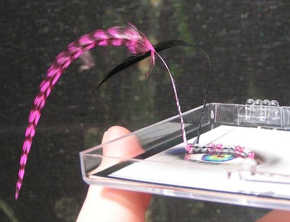 Feather False Eyelashes - rave, hot pink stripes, fantasy - Eyelash Jewelry