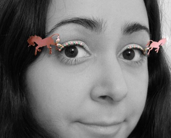Pastel Unicorn Eyelash Jewelry - false eyelashes for raves, burning man, festivals