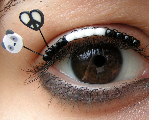 Peace Love and Pandas Eyelash Jewelry - black and white beaded rave kandi false eyelashes