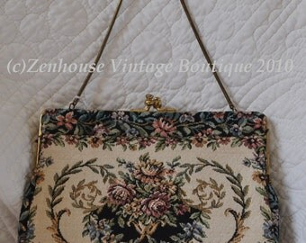 Vintage 1960s Delill West Germany Tapestry evening bag