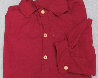 "Burgundy Homespun Shirt 19"" Neck Men's Civil War NSSA Cowboy S108"