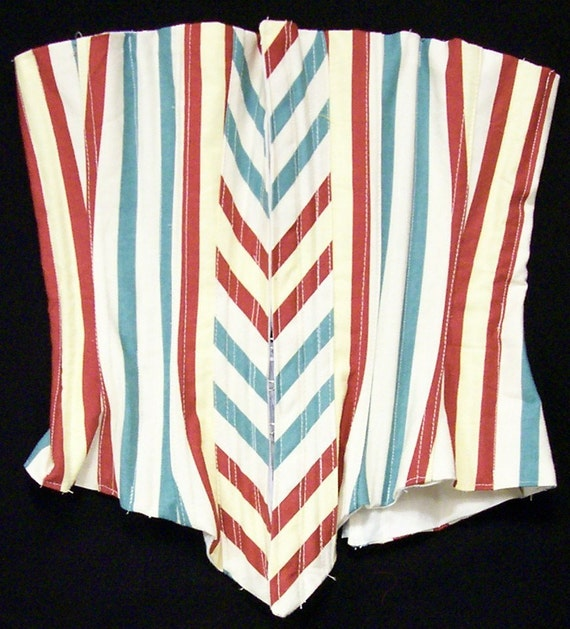 Freedom Flag Corset - Red White and Blue - Custom Handmade - metal bones and grommets