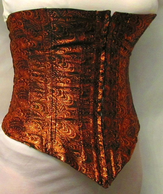 "Black and Copper Lined Corset Bust 35"" Waist 29"""