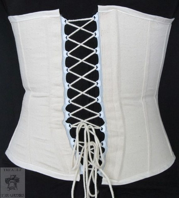 """27"""" W 34"""" B - Clearance - Civil War Era Working Corset  - Plastic lacing tape in back - metal hooks and eyes in front - in stock"""