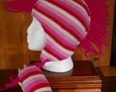 SALE 25.00 Lambswool Mohawk Hat and Fingerless Gloves Repurposed Wool