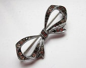 Antique Marcasite Bow Pin