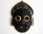 Old Balinese Carved Wood Spirit Mask