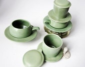 2 Vintage Vietnamese Ceramic Coffee Filter Cups- Set of Two - Brew Serve and Drink - Original