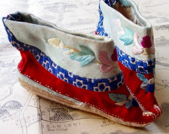Antique Chinese Silk Lotus Shoes - Free Shipping on Rare Hand Embroidered Foot Binding  Shoes