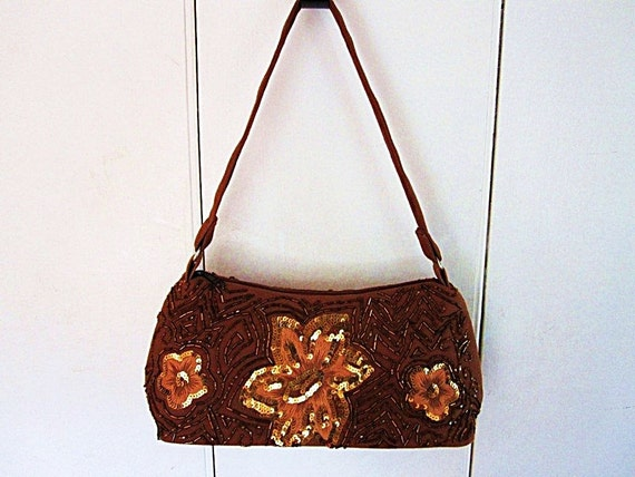 Vintage Brown  Purse-Sequined Beaded Canvas and Hand Embroidered Evening Bag