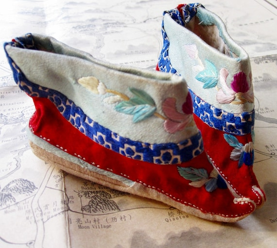 Antique Chinese Silk Foot Binding Shoes - Free Shipping- Rare Hand Embroidered for Foot Binding
