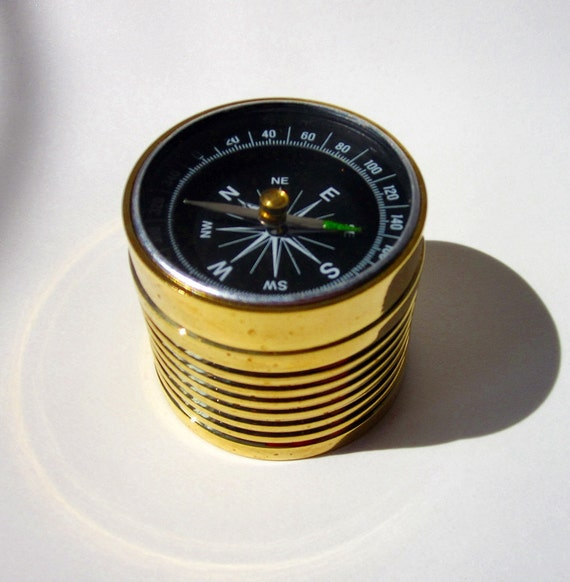 Compass and Gold Plated Paperweight