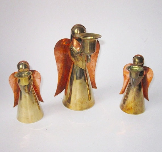 Brass Angel Figurine Candlesticks- India circa 1978