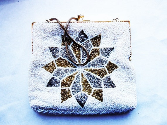 Art Deco Beaded Evening Bag- White- Snowflake Design
