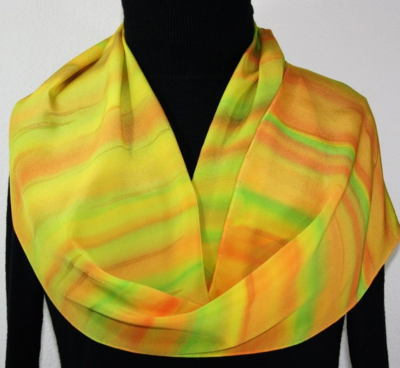 Tropical Feast Hand Painted Silk Scarf - size 10x57 in Yellow, Orange and Lime
