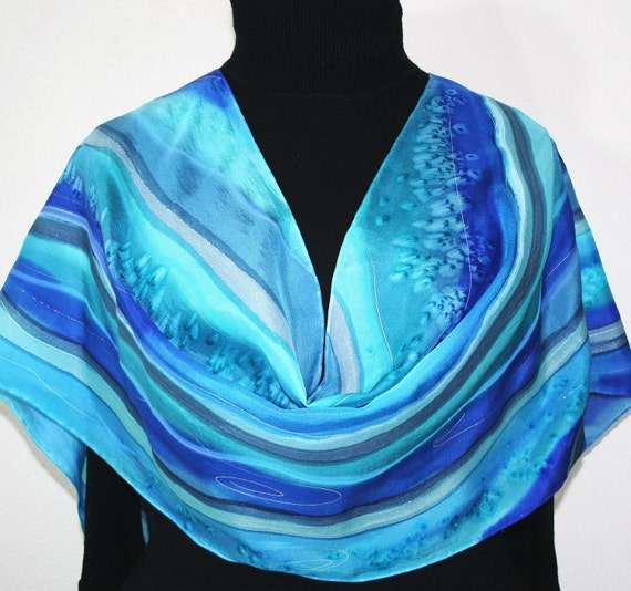 Sail Away Hand Painted Silk Scarf - size 14x70 in Blue and Turquoise