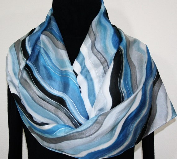 Icy Ripples Hand Painted Silk Scarf - size 14x70 in Steel Blue, Gray and Black