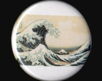 Great Wave Off Kanagawa 1.25 Inch Button
