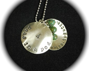 Four Peas in a Pod Personalized Charms Necklace