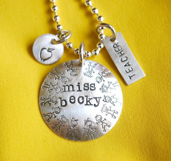 Teacher Hand Stamped Personalized Charms Necklace