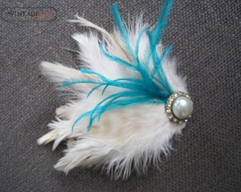 Cream and Aqua Feather Hair Clip